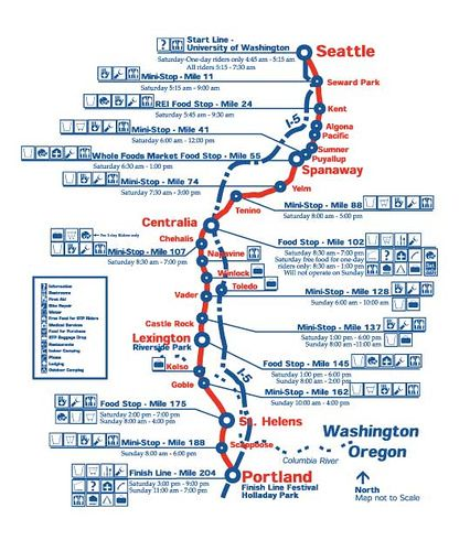 Route map of the Seattle to Portland Bike Classic on July 15 and