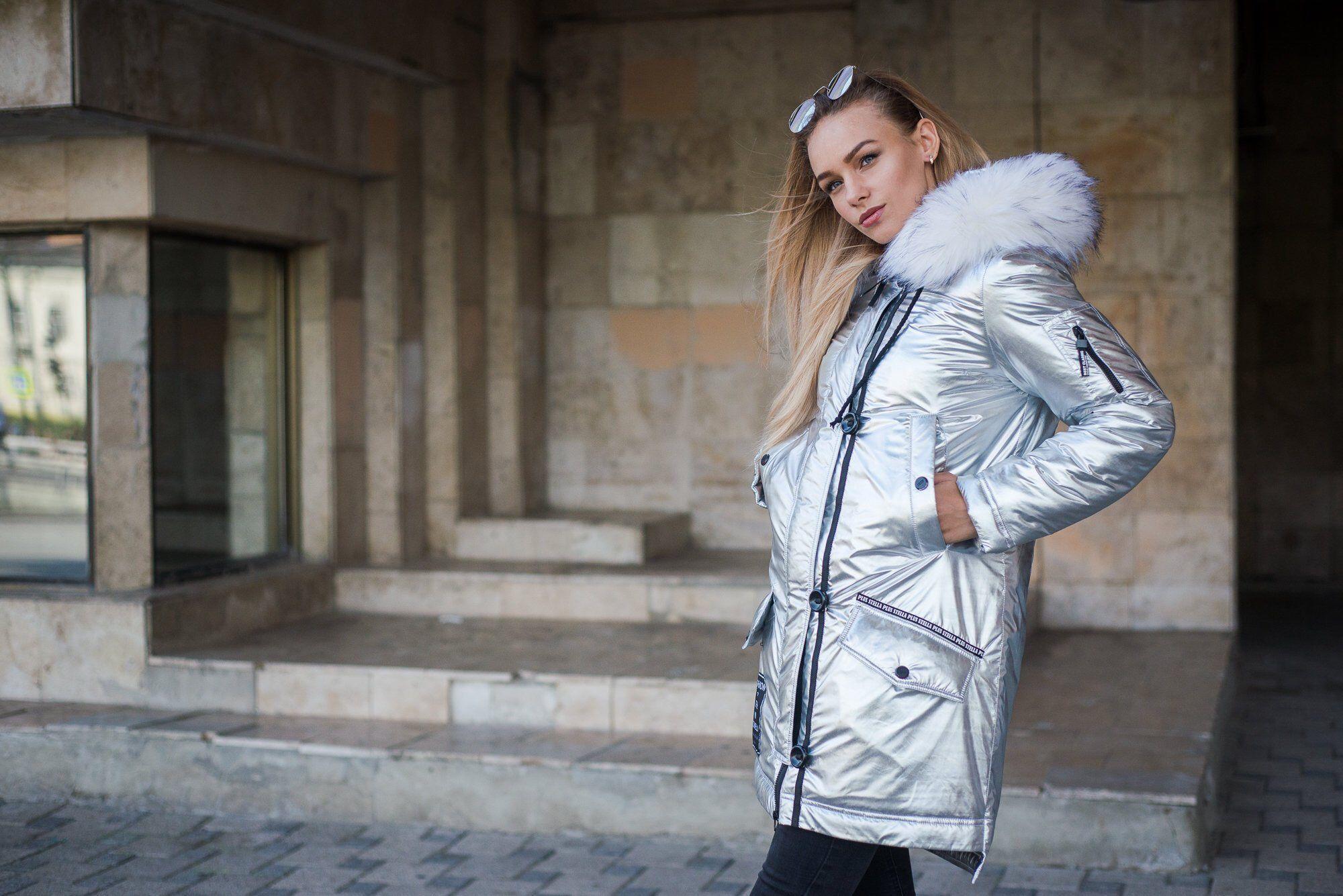 077b41f69 Silver eskimo women parka, arctic fox hooded down jacket, winter ...