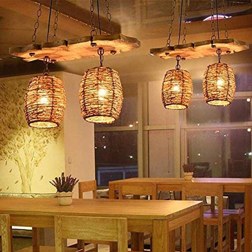 Rocqn Retro Nostalgische Hanf Seil Led Licht American Restaurant Kreative Pendelleuchte Esszimmer Hang Lampe Cafe Hangeleu Hangeleuchte Led Licht Pendelleuchte