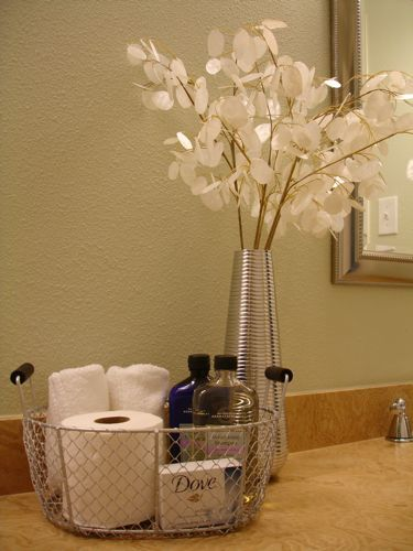 basket idea decoration for guest bathroom. spa feel for my guests