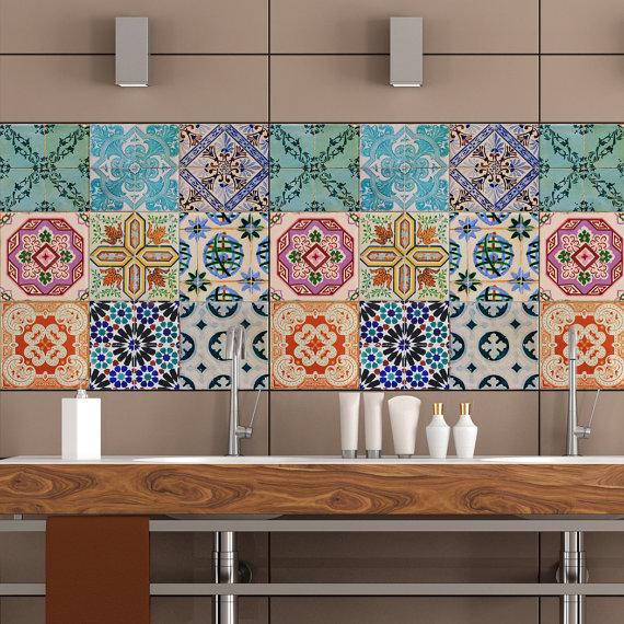 Cocina baño azulejo etiquetas de la etiqueta engomada del vinilo ...