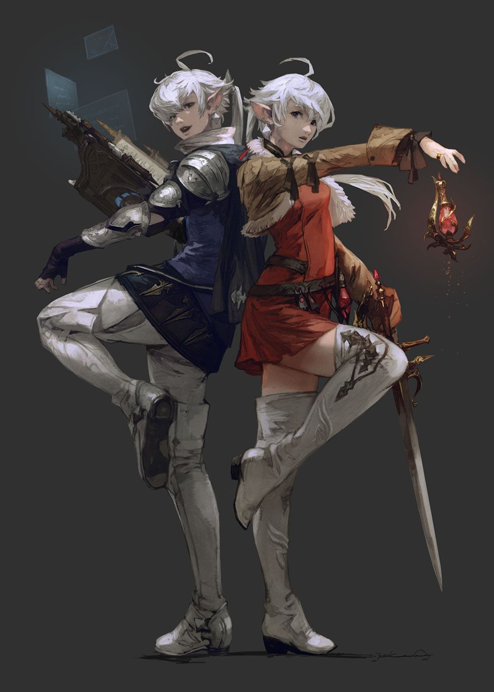 Alphinaud and Alisaie TGS Art from Final Fantasy XIV: Shadowbringers #art #artwork #gaming #videogames #gamer #gameart #conceptart #illustration #finalfantasy #ffxiv #ff14