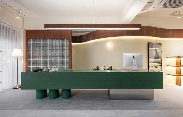 Photo of • THE_K Ulsan, Shoe Store Interior! Modern colors in green color
