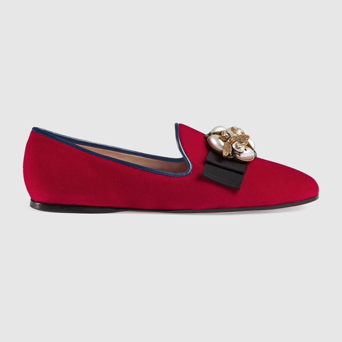 b91083efce7 GUCCI Velvet ballet flat with bee - hibiscus red velvet.  gucci  shoes
