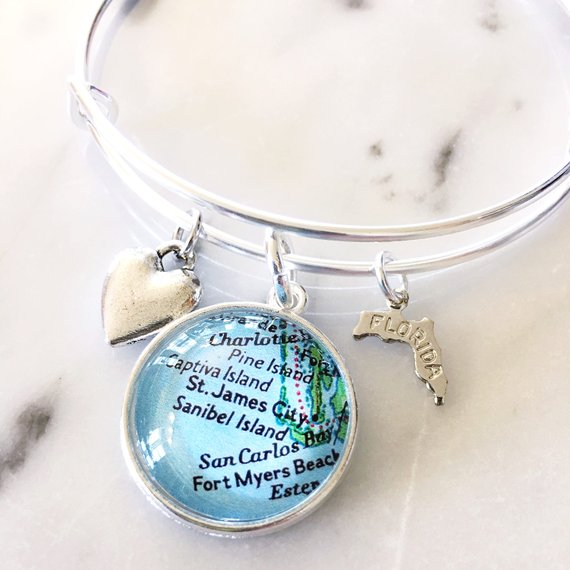 Florida Gulf Coast Map.Sanibel Island Map Charm Bangle Bracelet Personalized Map Jewelry