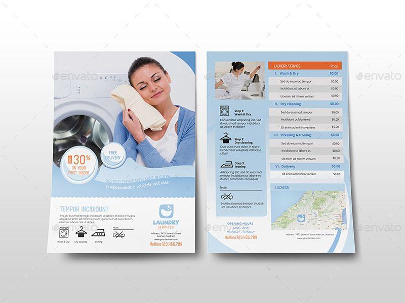 Laundry Services - Flyer Template | zeke | Pinterest | Laundry ...