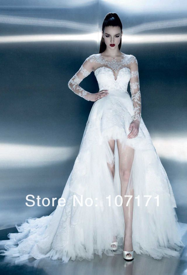 vestidos de novia cortos con cola y manga larga - buscar con google