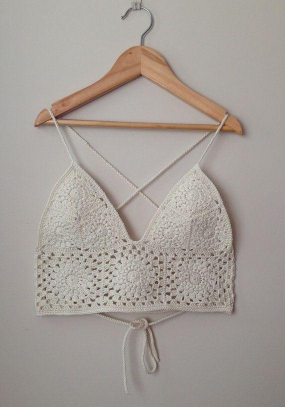 Crochet Bralette/ Crop Top/ Bikini. Size XS/ SMALL. HANDMADE. Hippie ...