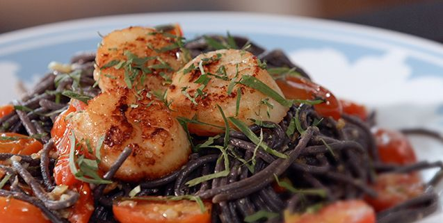 Squid ink pasta with tomato spring onion asian food channel squid ink pasta with tomato spring onion asian food channel forumfinder Images