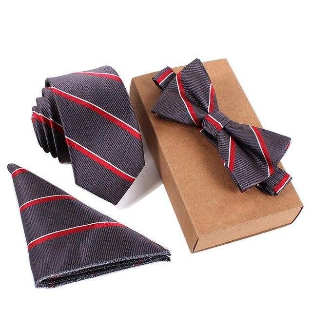 Pocket 3PCS Classic Solid Men Party Tie Mens Tie Pair of Cufflinks