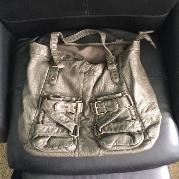 Grey Leather Love Culture Oversized Handbag Dark With A Hint Of Olive Gold Latches And Accents Great Condition Only Used Times