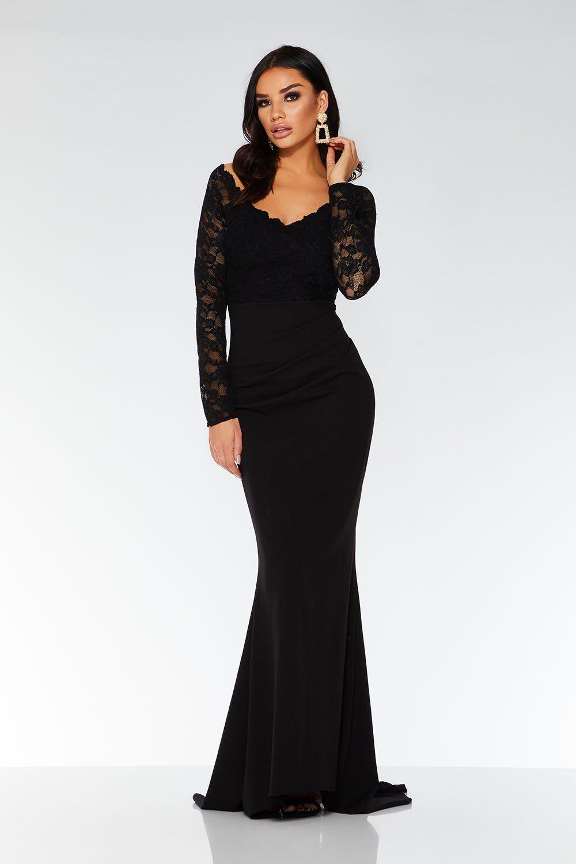 Black lace long sleeve fishtail maxi dress quiz clothing