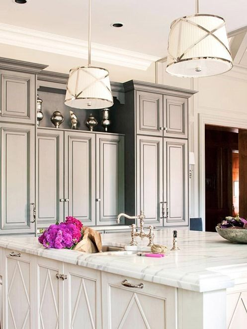 Chrome Pendants Above Marble Top Island Bhg  Our New Country Impressive Bhg Kitchen Design Decorating Inspiration