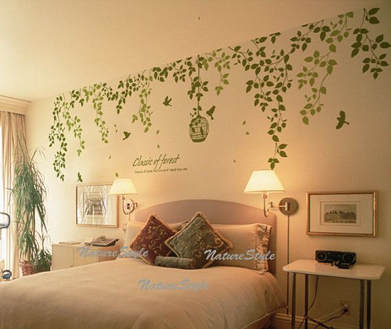 Beautiful branches with flying birds wall decal   Beautiful flowers ...