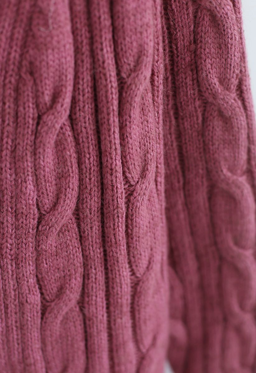 Warmest Hug Cable Knit Longline Cardigan in Berry | Longline
