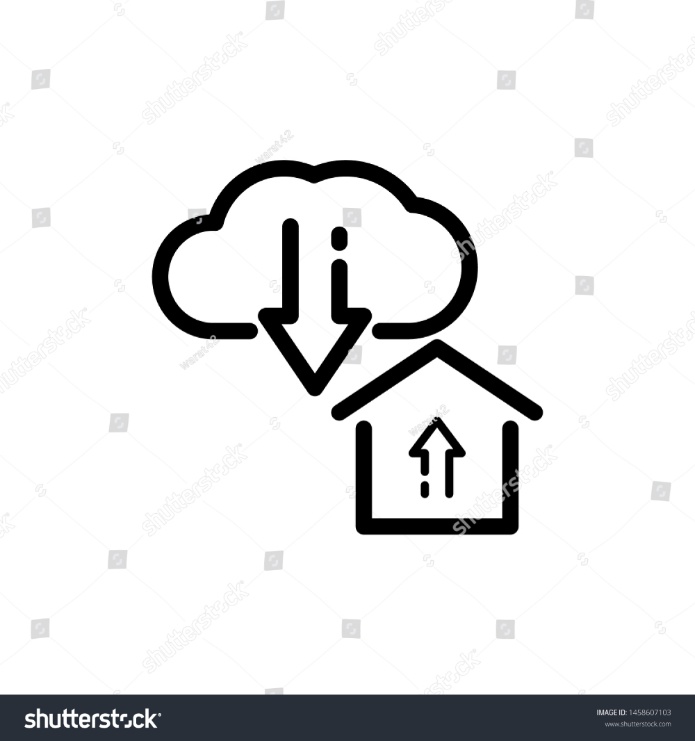 Cloud With House And Arrow Isolated On White Background Thin Line Icon Vector Illustration For Symbol Web Or App Stock Clouds Vector White Stock Image