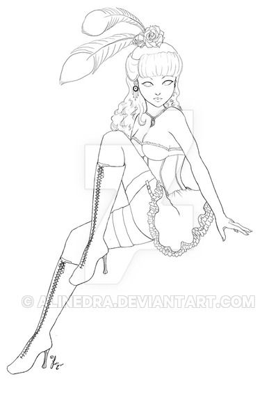 burlesque Lineart by Alinedra