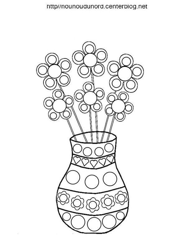 Coloriage Fleurs Nounoudunord.Vase Avec Fleurs Coloriage Couleur Pour Les Gommettes Dot Boyama