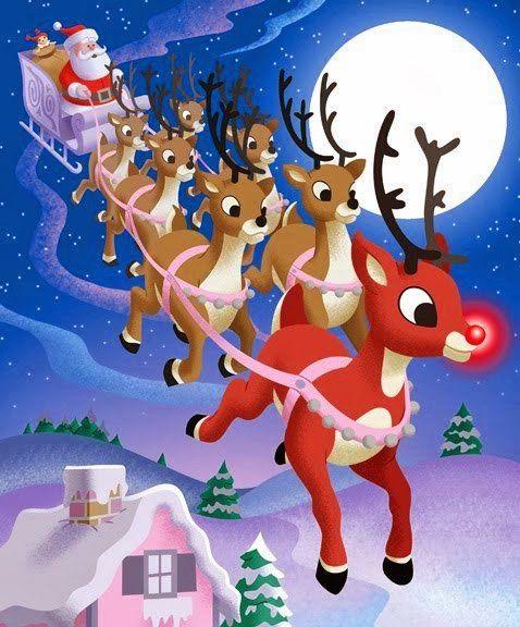 Santa Claus Y Rodolfo El Reno Rodolfo El Reno Tarjetas De Navidad Gratis Dibujos De Navidad Faciles