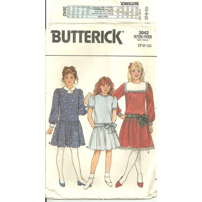 Butterick 3042 Sewing Pattern Girls Dress 3 variations Size 7 8 10 ...