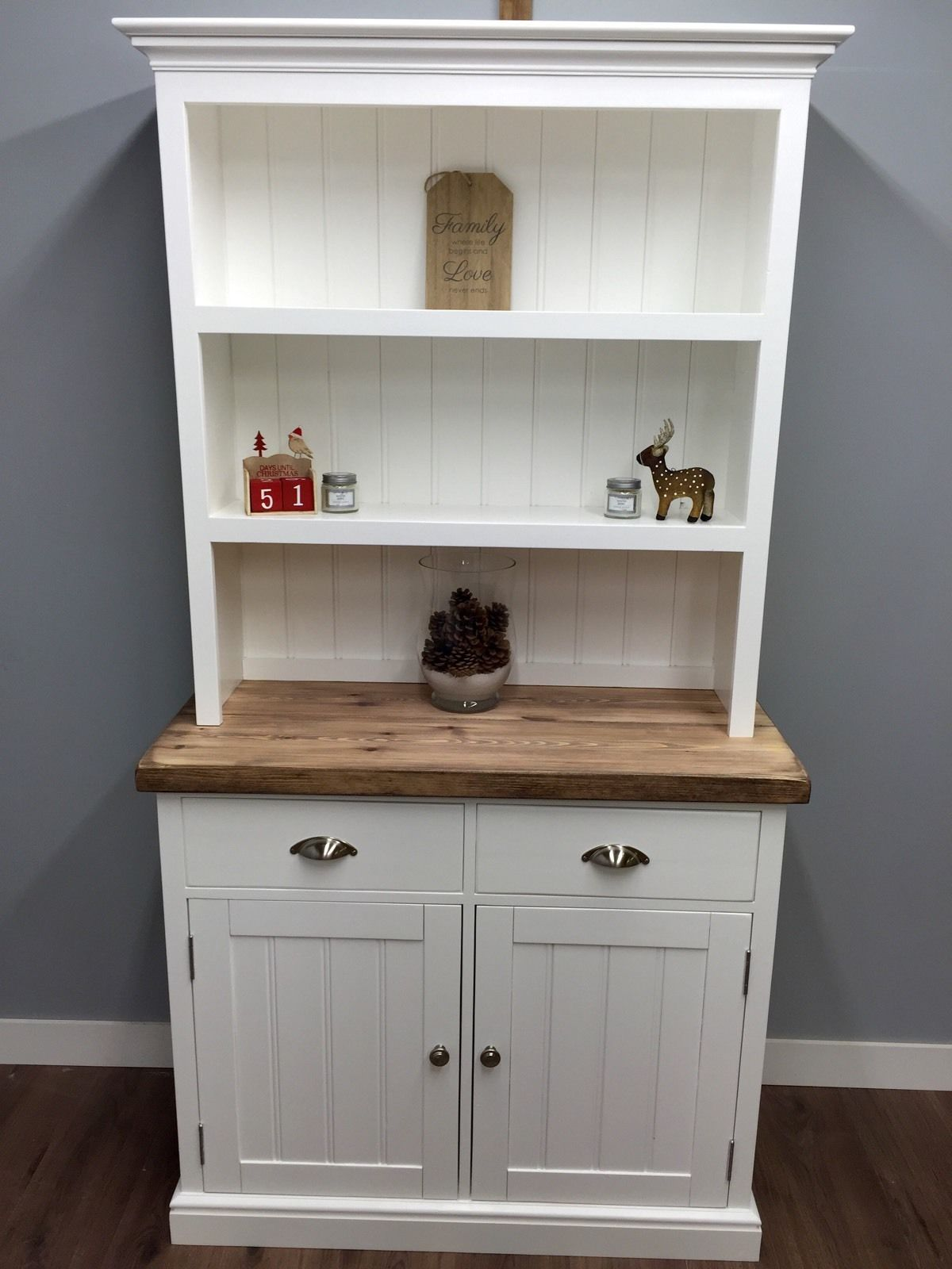 Kitchen Welsh Dresser Farmhouse Shabby Chic Display Unit Oak Pine Farrow Ball Ebay