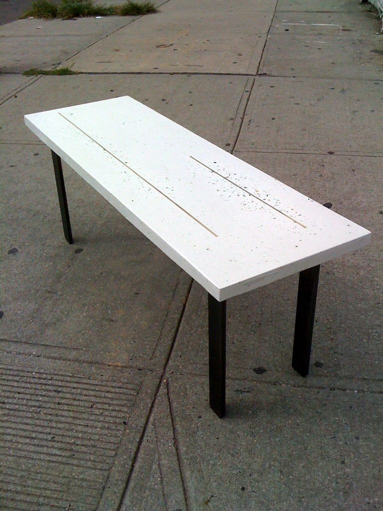 Polished White Concrete Coffee Table With Br Inlay