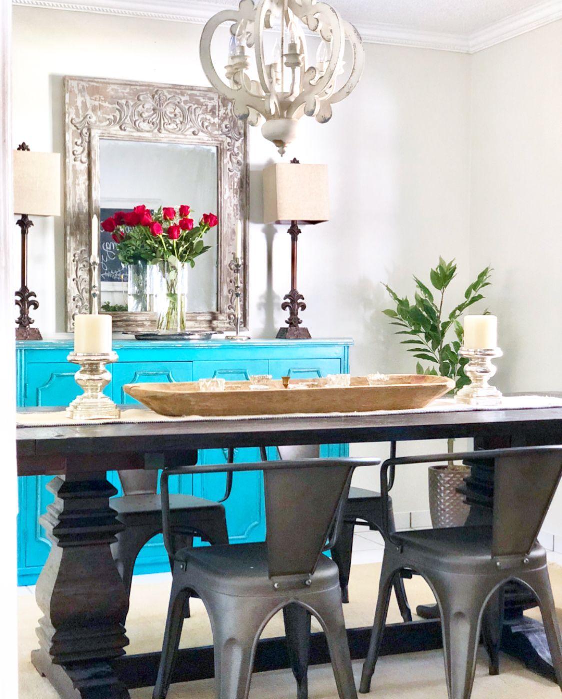 Dining room decor modern farmhouse turquoise buffet
