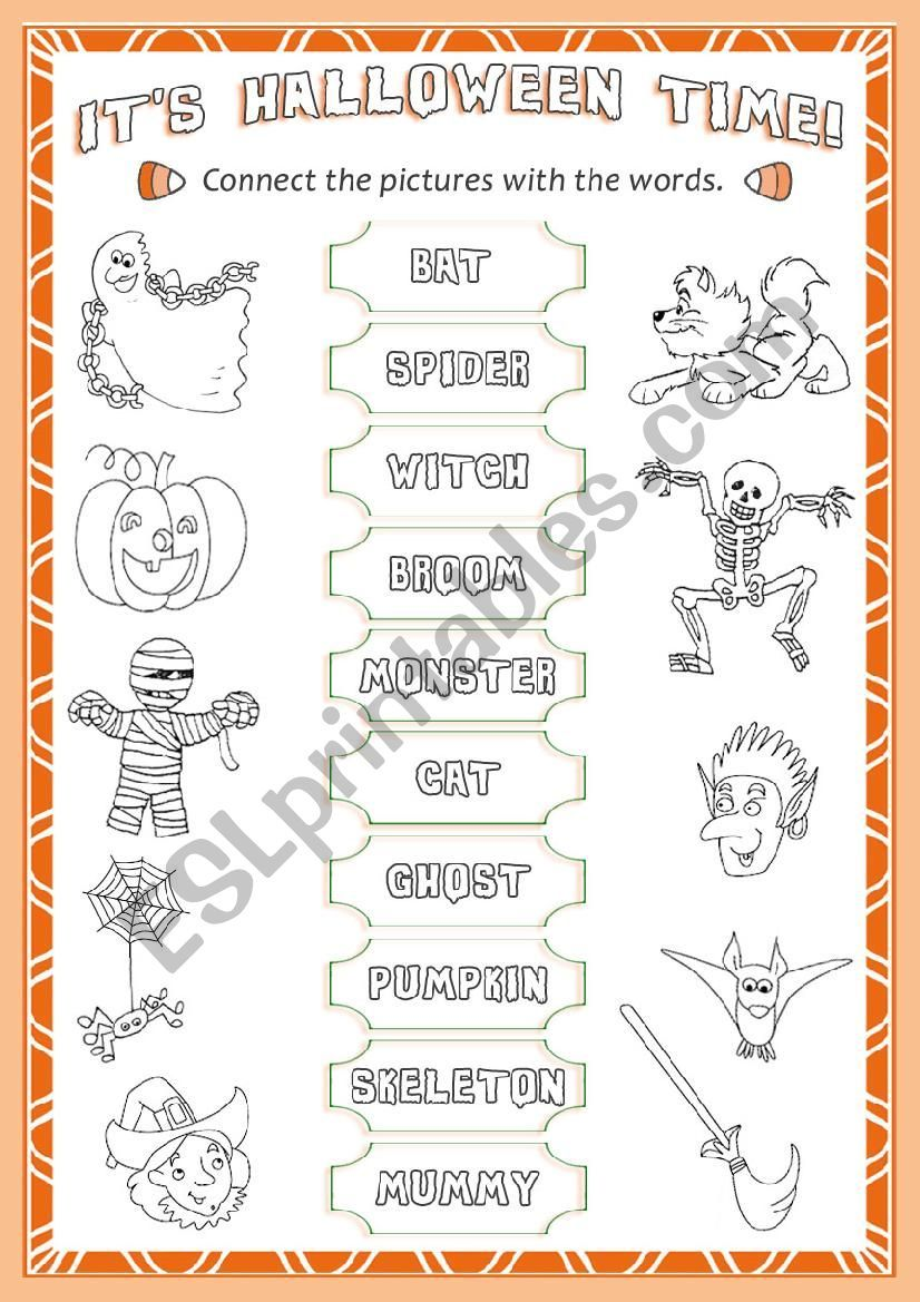 A worksheet about vocabulary related to Halloween. Pupils