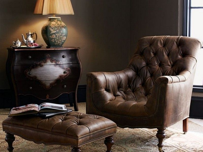 Tufted Leather Club Chair And Ottoman Stuff To Buy
