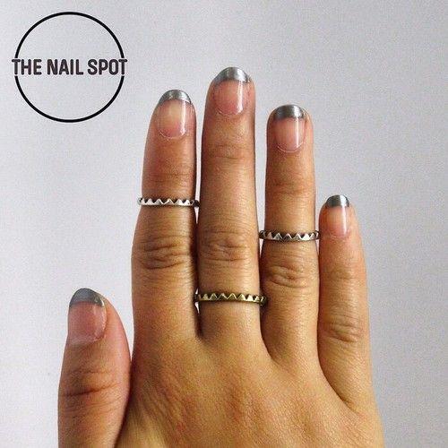 Metallic french mani deborah lippmann polish nails in west metallic french mani deborah lippmann polish nails in west vancouver nail art prinsesfo Image collections