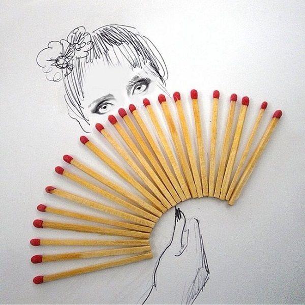 Originales Dibujos Creados Con Objetos Del Dia A Dia Arte Objetual Arte Creativo Arte De Miedo