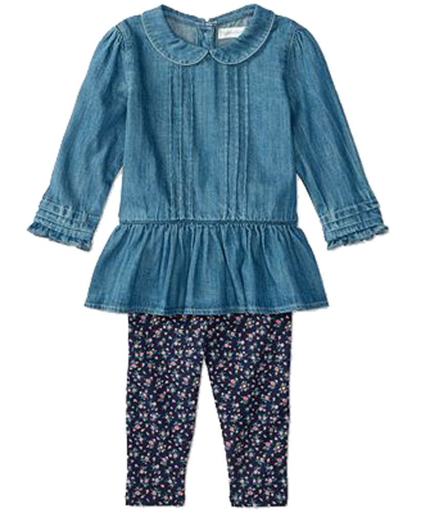 68c854cf3 NWT Ralph Lauren Baby Girls' Denim Shirt & Floral Print Leggings Set 12 M  #RalphLauren #DressyEveryday