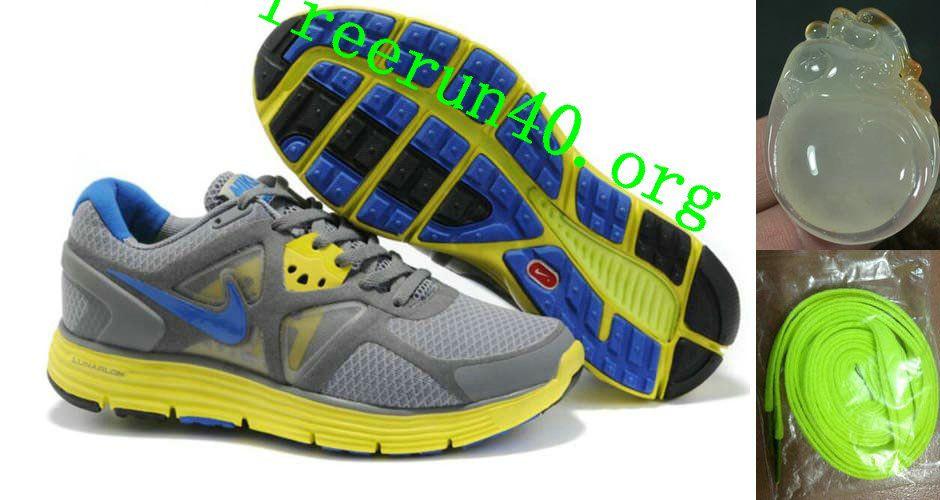 Womens Nike Lunarglide 3 Gray Yellow Blue Shoes Nike Free Run 3 -