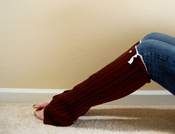 Brown Boot Socks with Lace Embellishment by annasondergard on Etsy, $23.00