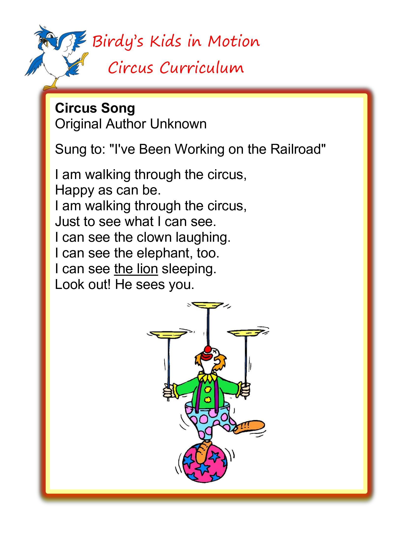 Circus Song Birdyskids Toddlercreativemovement