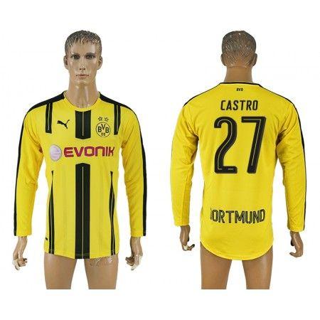 BVB 16-17 #Castro 27 Hjemmebanetrøje Lange ærmer,245,14KR,shirtshopservice@gmail.com
