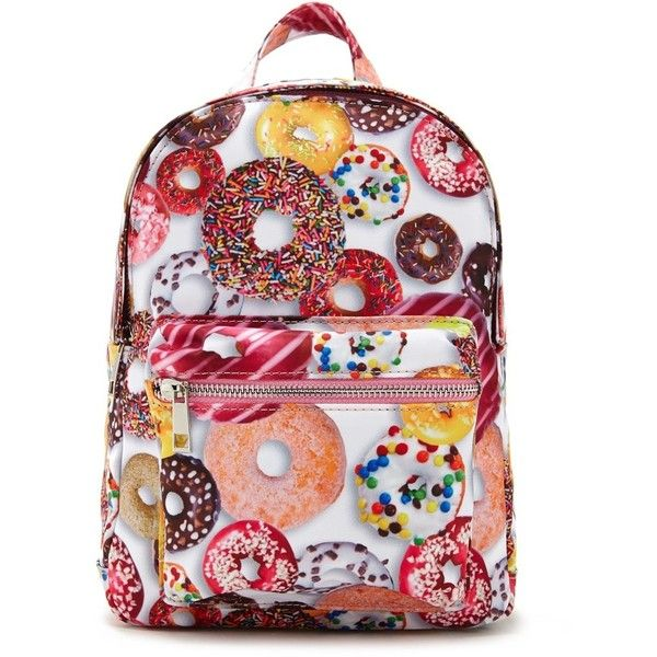 Forever21 Donut Graphic Backpack ($25) ❤ liked on Polyvore featuring bags, backpacks, forever 21, backpack bags, red top handle bag, shell bag and daypack bag