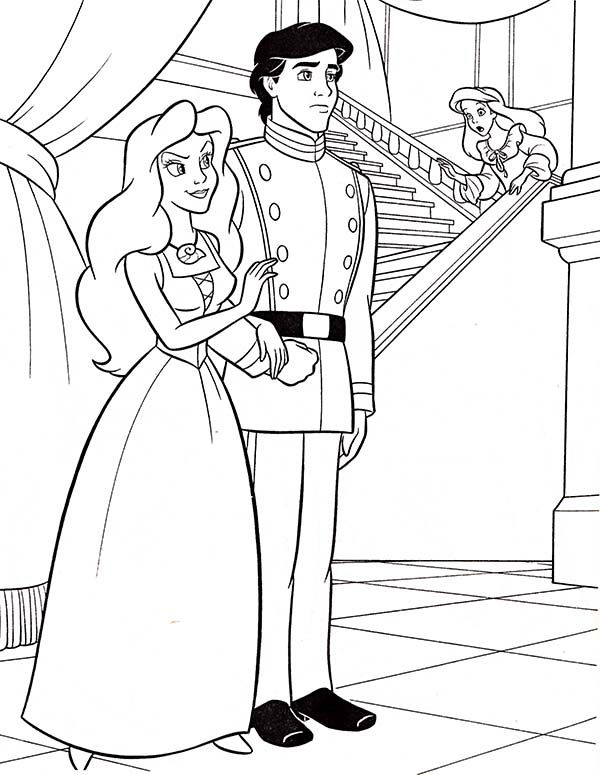 ariel walt disney ariel and prince eric coloring page walt disney ariel and prince