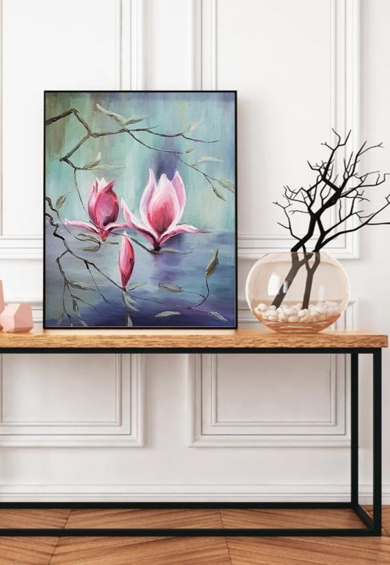 Pittura su tela, olio su tela 16x20, fiori, rosa, con ...