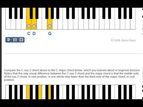 Piano Chord Lesson 45 Sus2 Chords Learn How Sus2 Chords Are Built