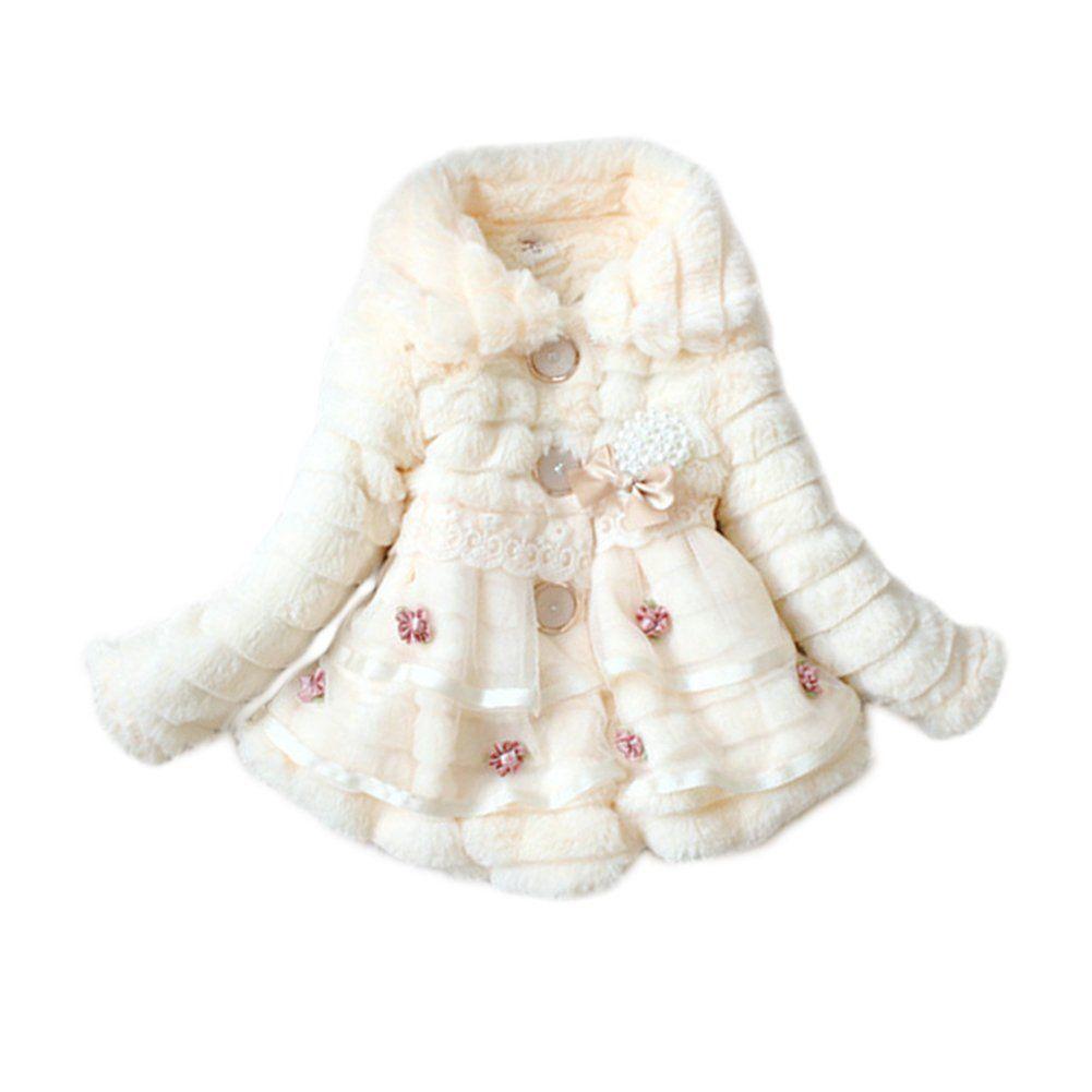 6c5a5ed27df9 Timall Baby Girls Faux Fur Fleece Pageant Coat Winter Warm Jacket 1 ...