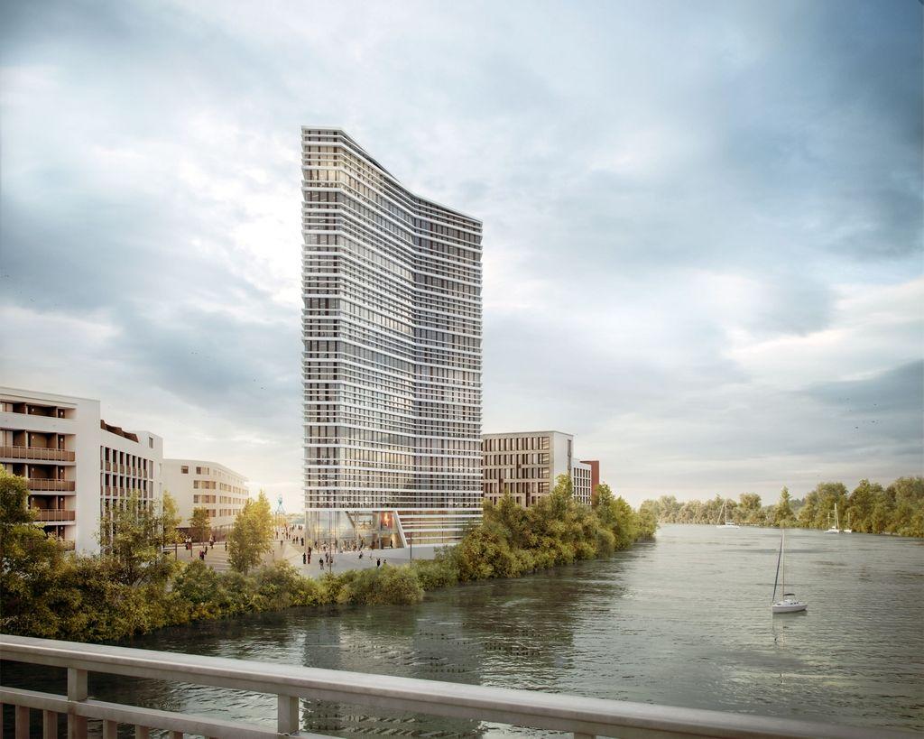 Projekt Mainviertel Hafenrevitalisierung Architektur Gebaude Burohochhaus