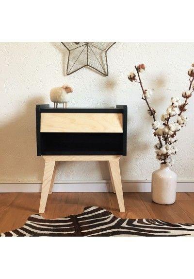 table de chevet bois et couleur basile
