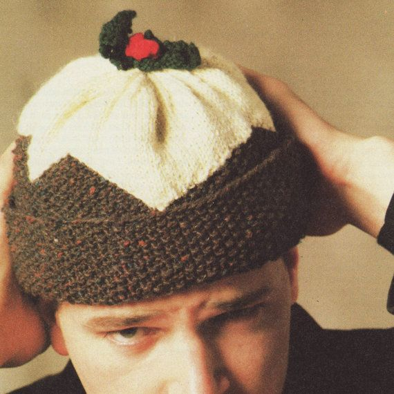 Knitting Pattern For Christmas Pudding Jumper : INSTANT DOWNLOAD PDF Vintage Knitting Pattern Christmas Pudding Hat Beanie Re...