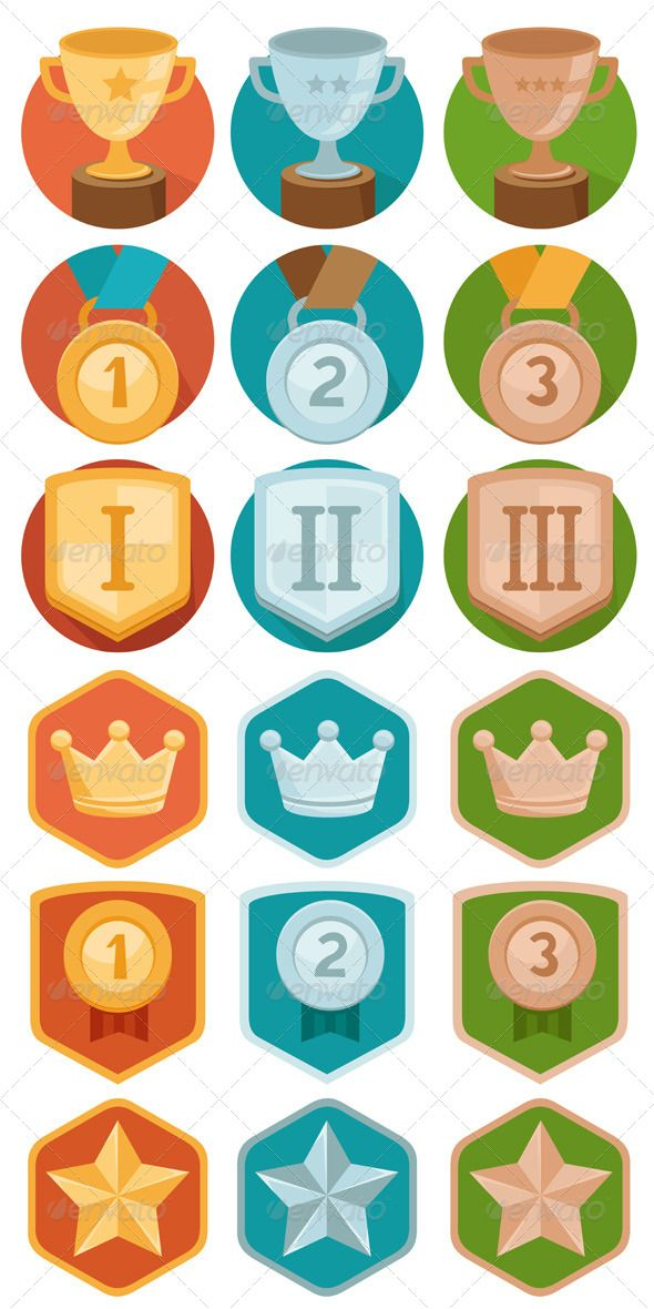 Achievement Badges in Gold, Silver and Bronze — JPG Image
