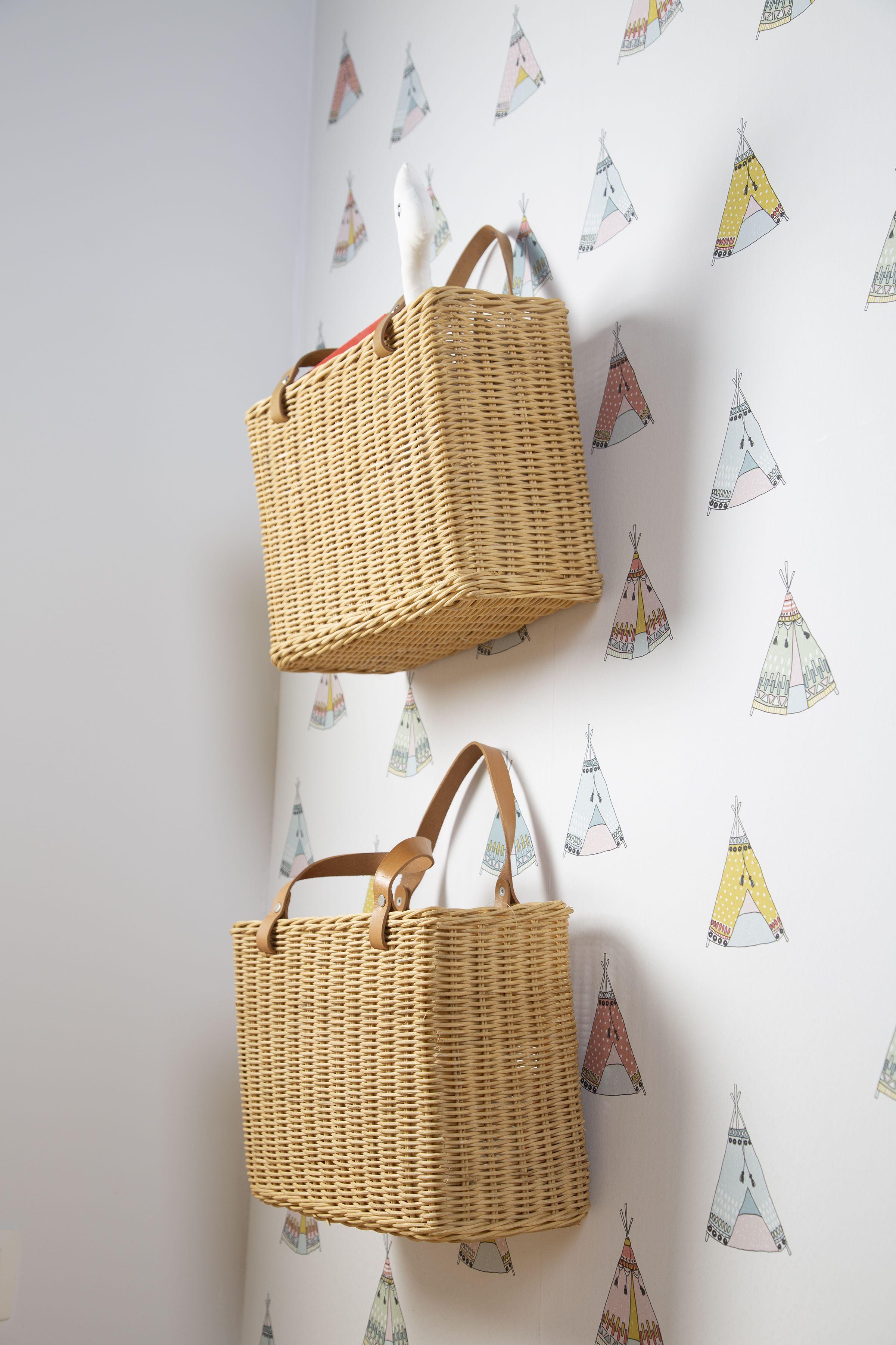 Hanging Storage Basket 2 Handles Natural In 2020 Storage Baskets Decorative Storage Baskets Hanging Storage