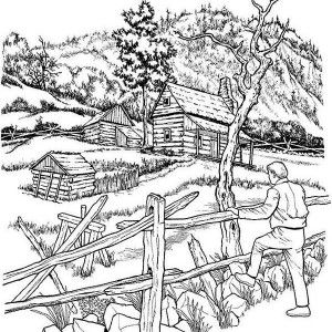 Landscape Colouring Pages For Adults With Images Fall Coloring