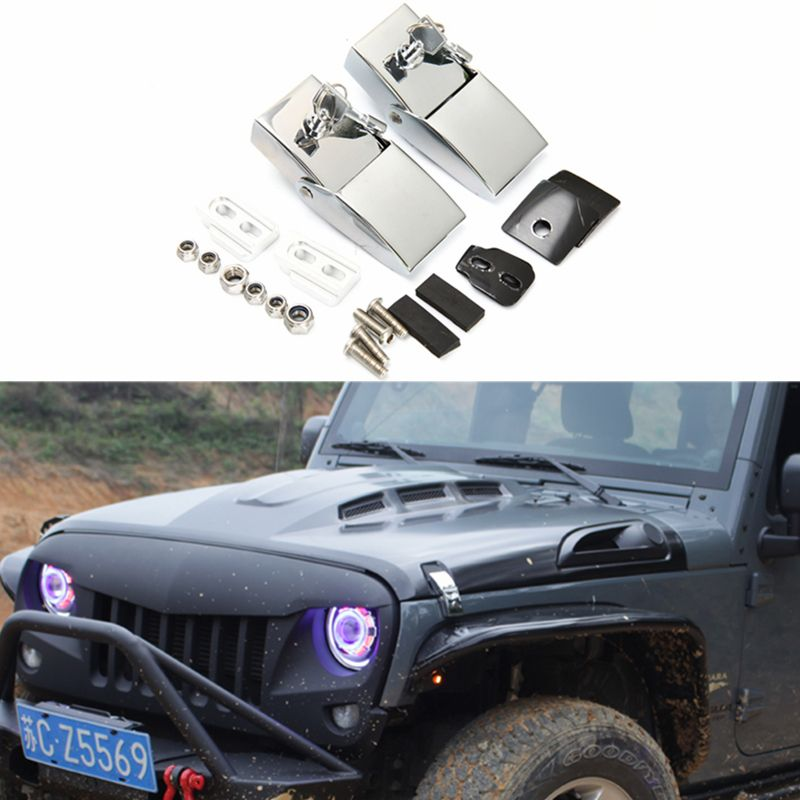 1set Stainless Steel Silver Anti Theft Engine Hood Lock Catches Latches Kits With Key For Wrangler Jk Wrangler Accessories Jeep Wrangler Accessories Jeep Doors
