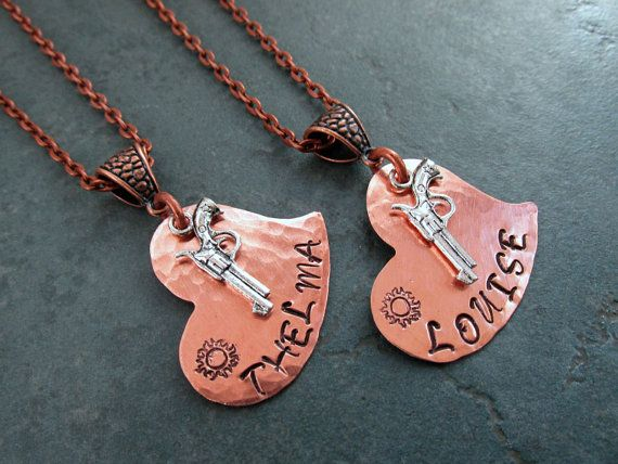 Copper Thelma & Louise With Sun Design Stamped by FHGoldDesigns