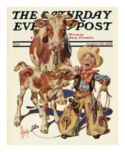 Little Cowboy Takes a Licking, c.1938 Print by Joseph Christian Leyendecker at Art.com